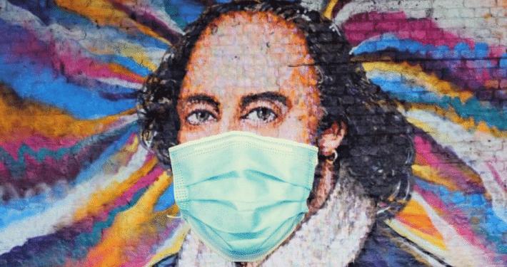 Shakespeare in coronavirus facemask